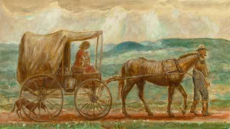 "John Steuart Curry, 'Melora in the Cart (From ""John Brown's Body"")', 1944, Painting, Tempera with oil on paper laid on masonite, Kiechel Fine Art"