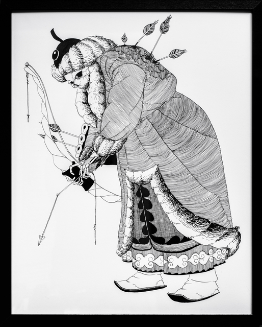 Kate Glasheen, 'Dead King 24 [10th Century Mongol Khagan]', 2020, Drawing, Collage or other Work on Paper, Pen and ink on archival paper, Paradigm Gallery + Studio