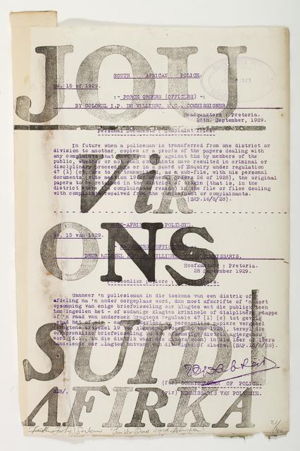 FAITH XLVII, 'Jou vir ons', 2013, David Krut Projects
