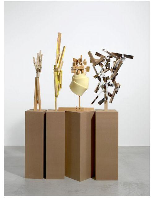 ", '""Literarisches Quartett""  1.- sculpture: 90 x 64 x 30 cm  2.- sculpture: 113 x 25 x 25 cm  3.- sculpture: 89 x 25 x 26 cm  4.- sculpture: 80 x 46 x 33 cm  4 bases, each one: 120 x 40 x 40 cm,' 2009, Galería Juana de Aizpuru"