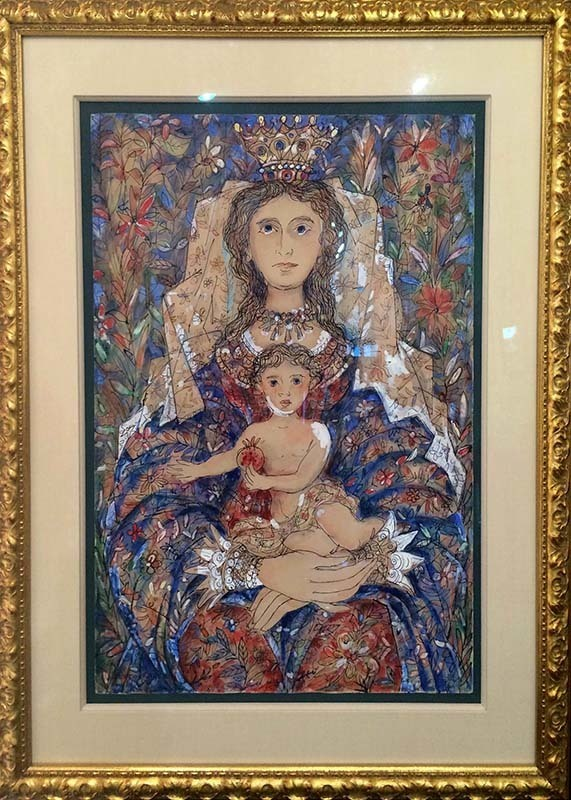 "Sample of figurative art by Cuban artist, Rene Portocarrero  ""Mother and Child"""