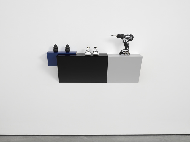 """Haim Steinbach, 'Untitled (2 kongs, sneakers, drill)', 2015, Sculpture, Plastic laminated wood shelf; 2 rubber Kong dog chews; Converse """"Chuck Taylor"""" toddler sneakers; Makita cordless drill, White Cube"""