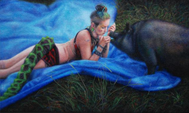 , 'Woman and Pig,' 2016, Eva Hober