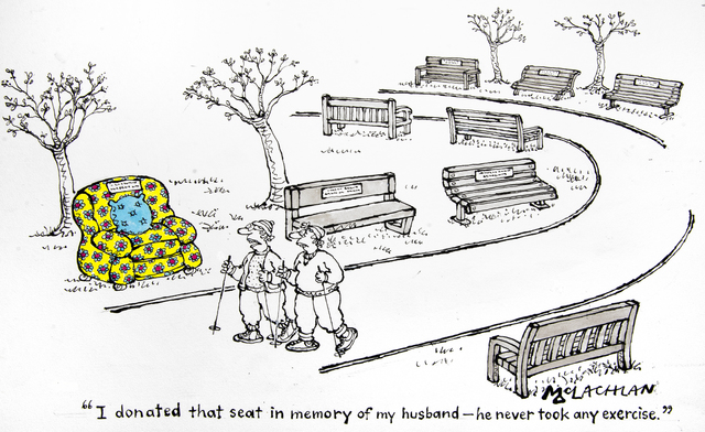 , 'I donated that seat in memory of my Husband –he never took any exercise ,' 2017, Chris Beetles Gallery