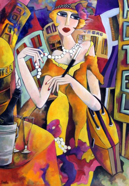, 'Femme au collier et au fume cigarette,' 2019, Galerie Deza