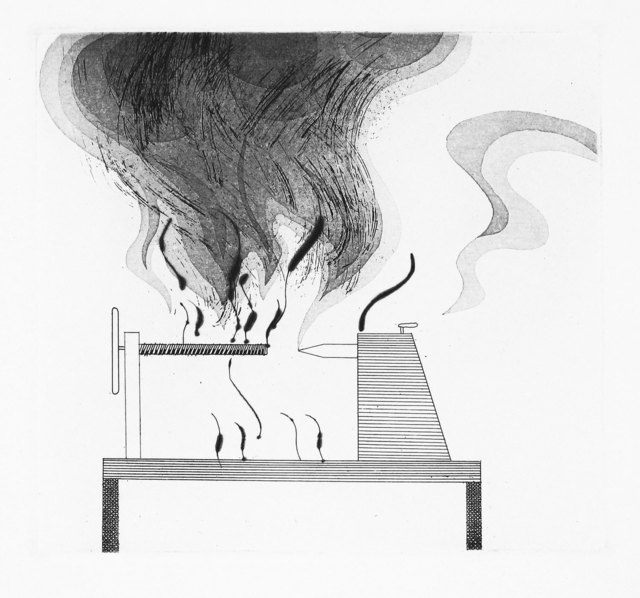 David Hockney, 'The Lathe and Fire', 1969, Print, Aquatint, etching and drypoint, Goldmark Gallery