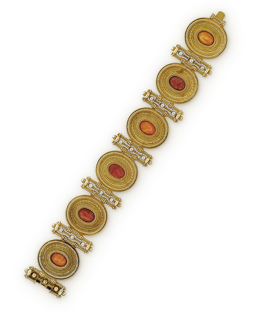 , 'An Archaeological Style Gold, Pearl and Carnelian Bracelet,' ca. 1870, Wartski