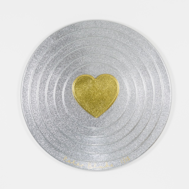 Peter Blake, 'Gold heart on silver (metal flake)', 2017, Paul Stolper Gallery