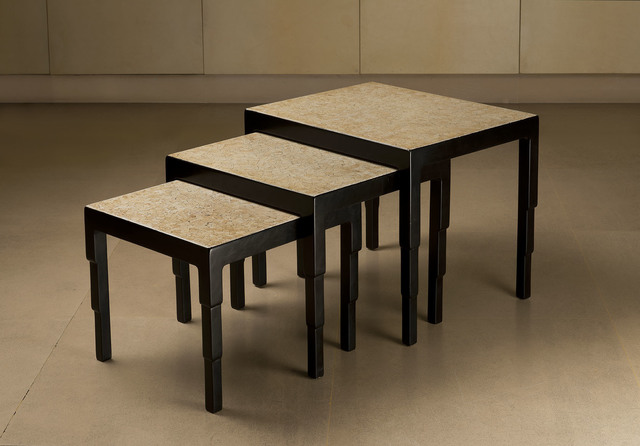 , 'Set of three nesting tables in black lacquer and eggshell,' ca. 1925, Vallois SAS