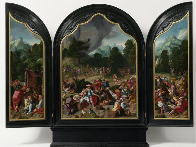 Lucas van Leyden, 'Worship of the Golden Calf', ca. 1530, Painting, Oil on panel, Rijksmuseum
