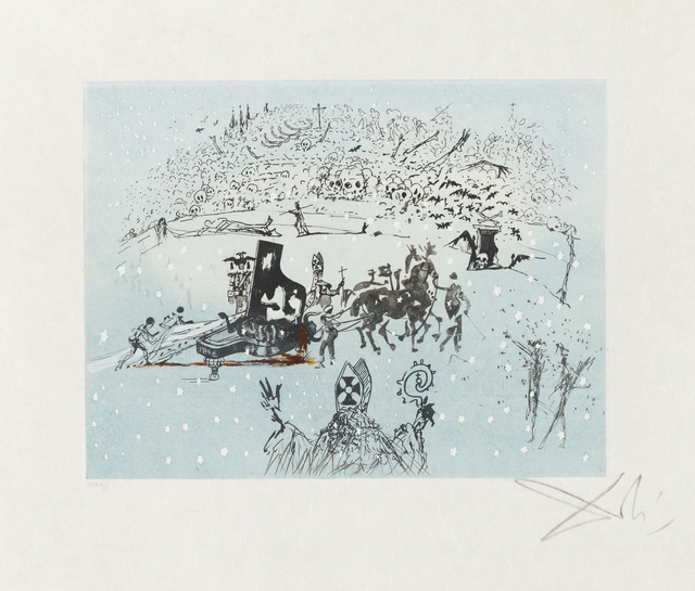 Salvador Dalí, 'The Piano in the Snow', 1966, Print, Drypoint and Aquatint, Christopher-Clark Fine Art