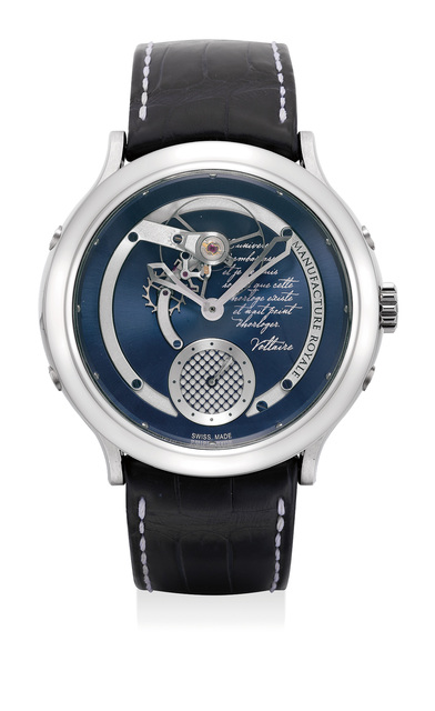 Manufacture Royale, 'A very fine and extremely rare stainless steel wristwatch with Voltaire inscription', 2015, Phillips