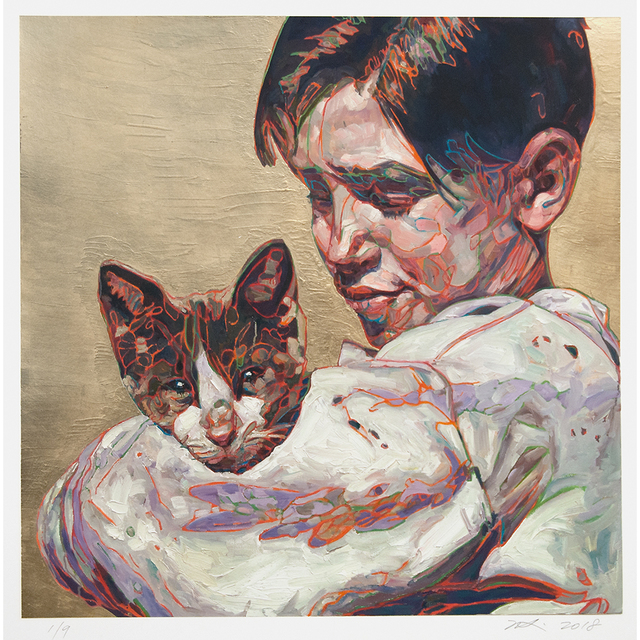Hung Liu, 'Migrant Child: with Cat', 2019, Turner Carroll Gallery