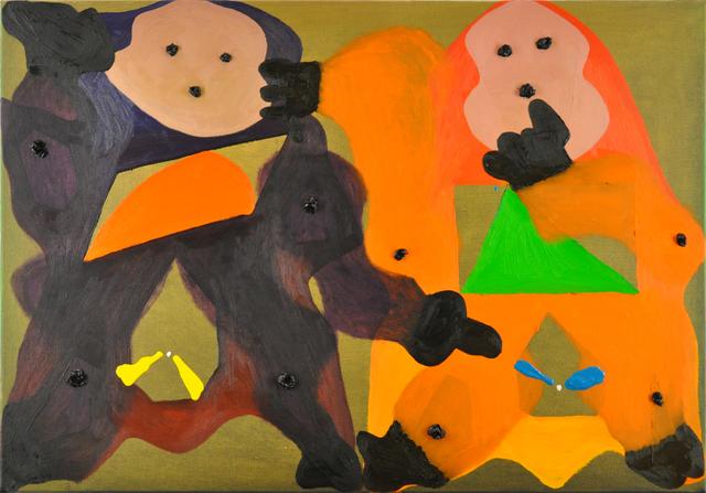 , 'Zwei-Wezen-Begegnung (HABBE! - HALLA!/kommend? - erscheinend?/2$ - 1€),' 2013, Niklas Schechinger Fine Art.