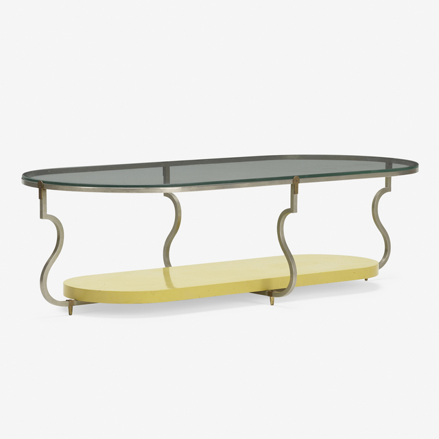 Tommi Parzinger, 'coffee table', c. 1960, Design/Decorative Art, Nickel-plated brass, brass, lacquered wood, glass, Rago/Wright