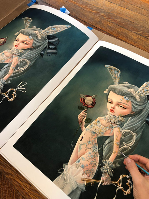 """Kukula, '""""An Invitation"""" print', 2019, Print, Hand embellished giclee print with gold and pearl acrylic paint on 100% cotton paper (Pura Smooth), Haven Gallery"""