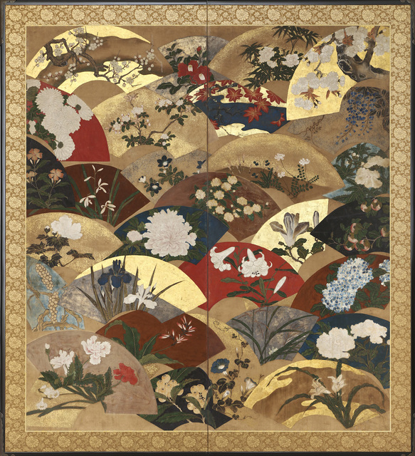, 'Two-Panel Screen, Scattered Fans with Seasonal Flowers (T-4115),' Edo period-ca. 1800, Erik Thomsen