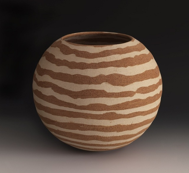 Lorraine Shemesh, 'Cream & Rust Striped Vessel', 2016, Gerald Peters Gallery