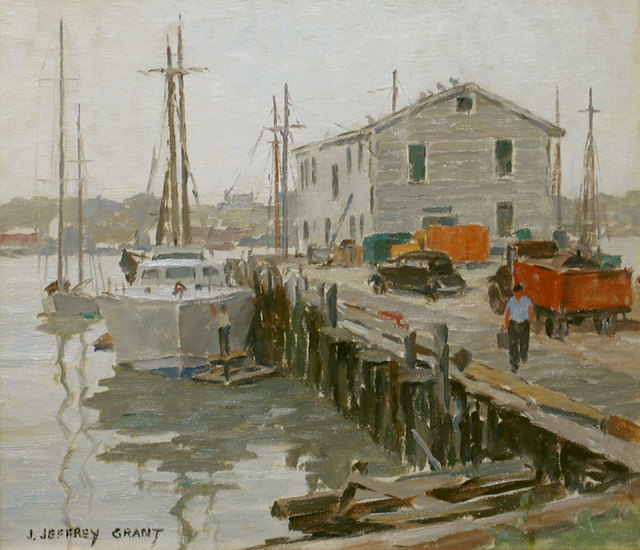 James J. Grant, 'Gray Day, Gloucester Docks', 19th -20th Century, Vose Galleries