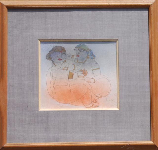 Ramananda Bandyopadhyay, 'Saheli, figurative, Mixed Media in brown, orange, red, white by student of Nandalal Bose', 2005, Painting, Wash , Acrylic , Water Colour, Ink , Paper, Gallery Kolkata