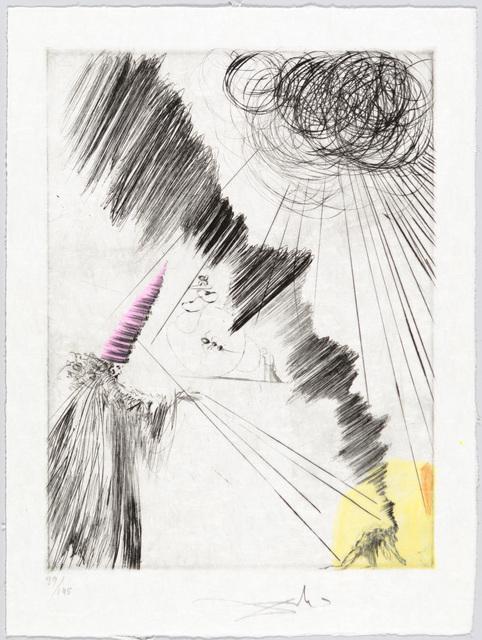 Salvador Dalí, 'Femme au Clown', 1968-1969, Print, Original drypoint printed in black ink on Japan paper, with hand-coloring added., Christopher-Clark Fine Art