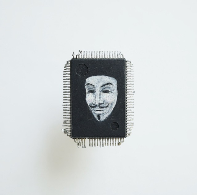 Yuri Zupancic, 'Guy Fawkes Mask ', 2014, Painting, Oil Painting on Microchip, Gonzo Gallery