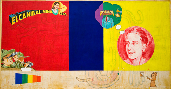 Enrique Chagoya, 'The Minimalist Cannibal (El Canibal Minimalista)', 1999-2006, Painting, Mixed media on Amate paper laid on linen, Collectors Contemporary