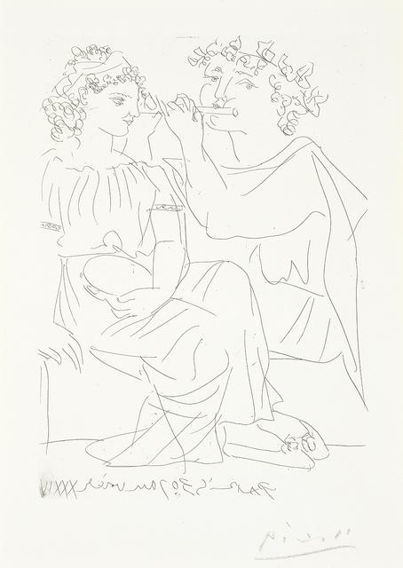, 'Flûtiste et Jeune Fille au Tambourin (Flutist and Tambourine girl),' 1934, Masterworks Fine Art
