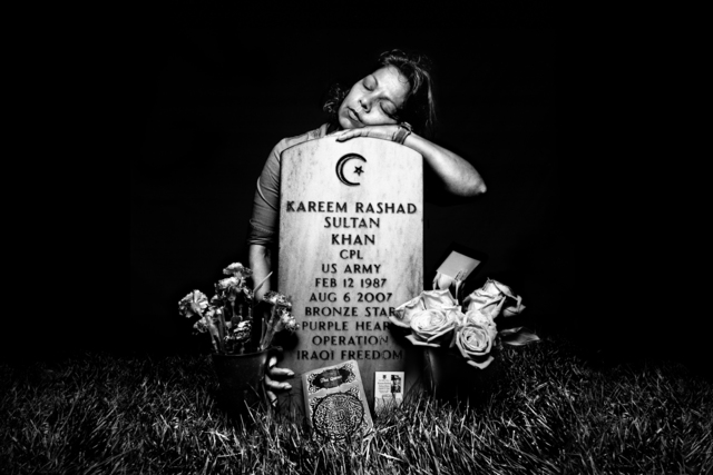 , 'SERVICE: Eisheba Khan at the grave of her son, Specialist Kareem Rashad Sultan Khan. Arlington National Cemetery.,' 2008, Milk Gallery