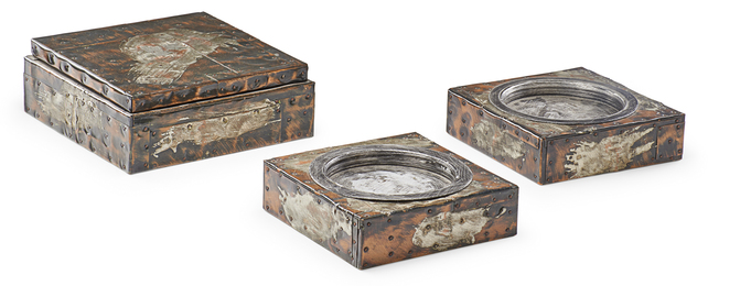 Patchwork humidor and two ashtrays, USA