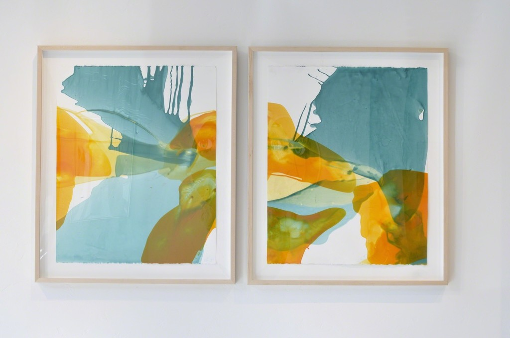 """Turquoise Storm"" diptych, encaustic and color pigment on paper, framed, 2017, 30.5x36.25"""