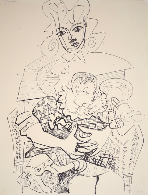 Pablo Picasso, 'Ines et son enfant (Ines and her Son), 1947 From the series Lithograph, 42/50', 1947, Print, Lithogrpah, ZQ Art Gallery