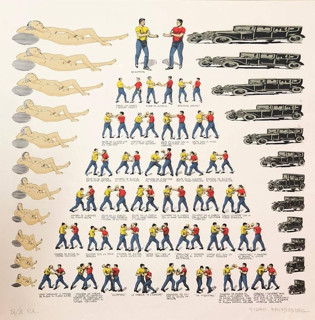 Pedro Friedeberg, 'Mexican Modernist Master Surrealist, Ziggurat Boxers, Nudes, Silkscreen Print', 1970-1979, Lions Gallery