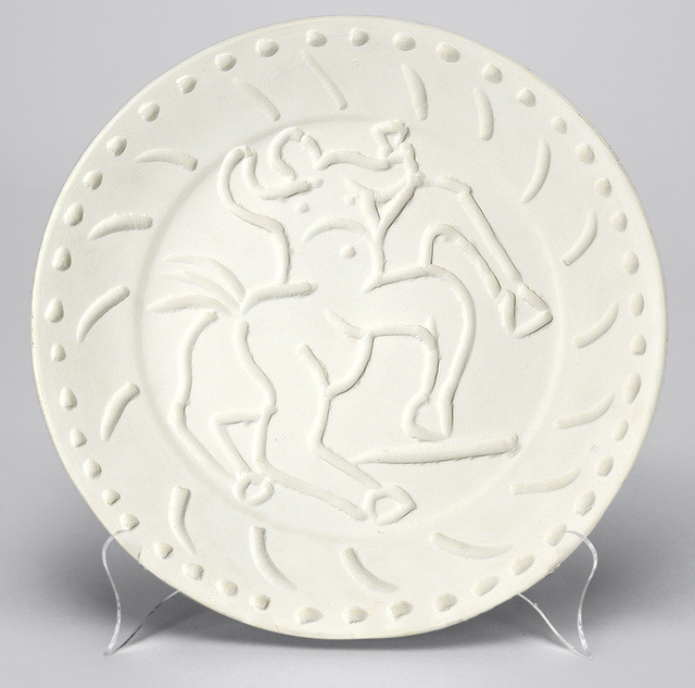 Pablo Picasso, 'Centaur, 1956', 1956, Sculpture, Madoura round dish of white earthenware clay, Masterworks Fine Art