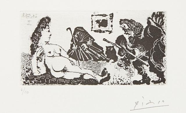 Pablo Picasso, 'Vieux beau saluant très bas une pupille de la Célestine (Old Man Bowing to Celestine's Pupil), plate 113 from La série 347', 1968, Phillips