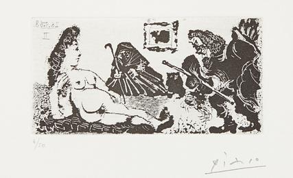 Pablo Picasso, 'Vieux beau saluant très bas une pupille de la Célestine (Old Man Bowing to Celestine's Pupil), plate 113 from La série 347,' 1968, Phillips: Evening and Day Editions (October 2016)