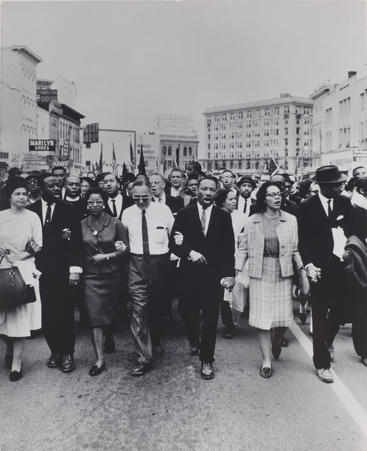 , 'Rosa Parks, Dr. and Mrs. Abernathy, Dr. Ralph Bunche, and Dr. and Mrs. Martin Luther King, Jr. leading marchers into Montgomery,' 1965-printed ca. 1970, Brooklyn Museum