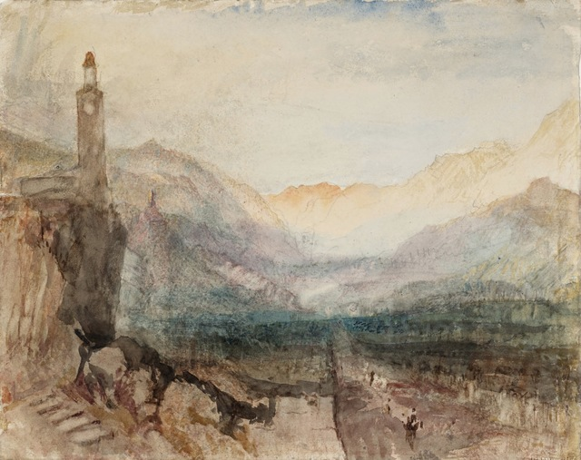, 'The Pass of the Splügen: Sample Study,' 1841-1842, de Young Museum