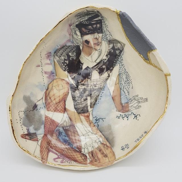 Yurim Gough, 'ADIDAS MAN', 2019, Sculpture, Life drawing on stoneware with ceramic pencil, transfers, gold, 3D-printed part, Paradigm Gallery + Studio
