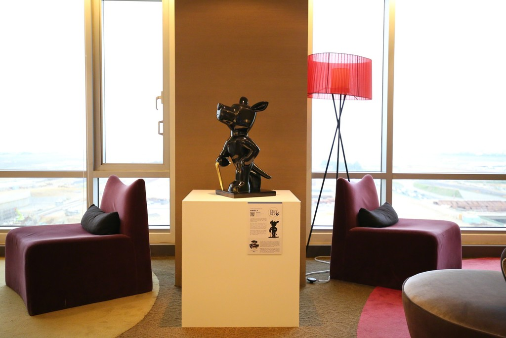 """The Cowman, 2007"" installation view in the hotel VIP lounge