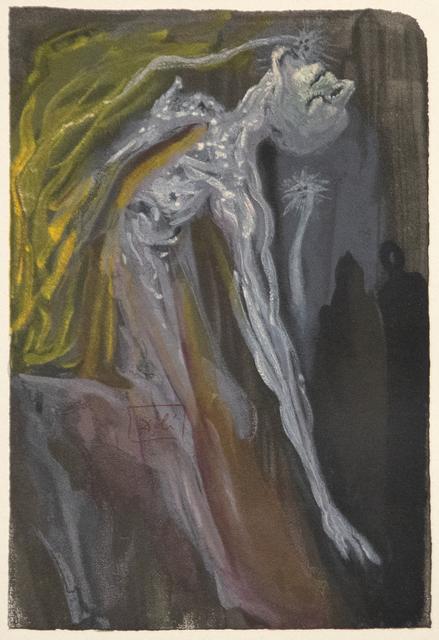Salvador Dalí, 'Zerrissen sie die Brust sich mit den Klauen, Schlugen die Hand' und schrieen dergestalt, Dass ich mich anschmiegt' an Virgil vor Grauen', 1974, Heather James Fine Art: Color Curation   Modern and Contemporary