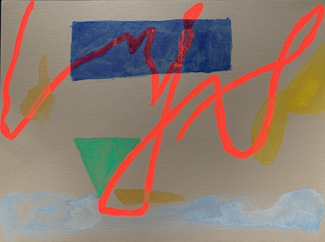 Lj., 'study 2 - Miami - welcome to this city', 2021, Painting, Gouache and watercolor on canvas, 917 Fine Arts