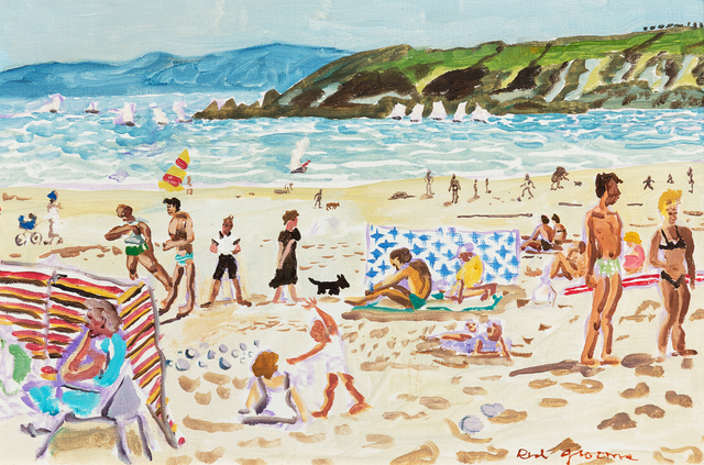 Red Grooms, 'French Beach Scene', 1980, Painting, Oil on canvas, Hindman