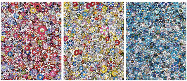 Takashi Murakami, 'Skulls & Flowers Tryptych', ca. 2020, Print, Off-set print with silver, Ransom Art