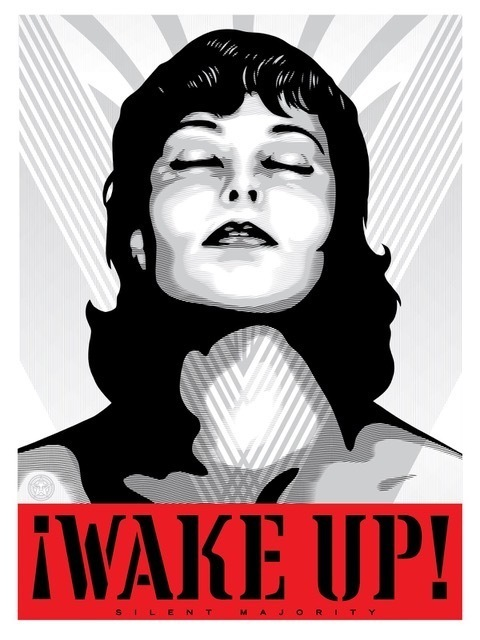 Shepard Fairey (OBEY), 'Wake Up! (Silver)', 2017, Perry J. Cohen Foundation Benefit Auction