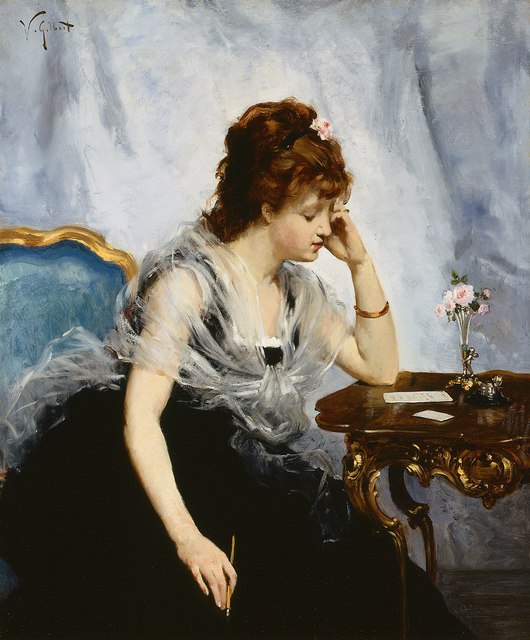 Victor Gabriel Gilbert, 'A Young Lady Writing a Letter', ca. 1875, Guarisco Gallery