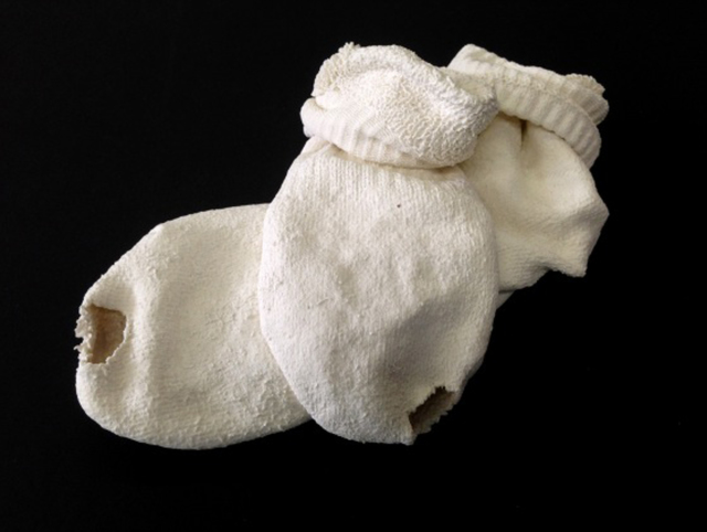 ", '""Holed Pair of Socks"",' 2014, Josée Bienvenu"