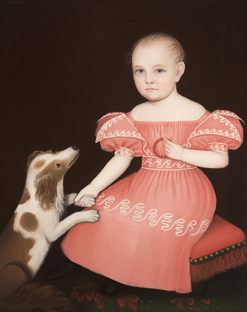 , 'Child in Pink with a Spaniel,' c. 1835, Godel & Co.