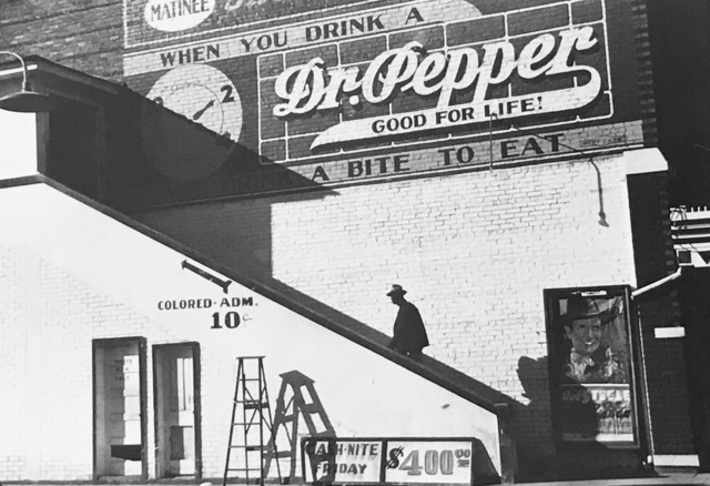 Marion Post Wolcott, 'Man Entering Movie Theatre by 'Colored' Entrance, Belzoni, Mississippi, in the Delta Area', 1939, Photography, Silver gelatin print, printed later, Elizabeth Houston Gallery