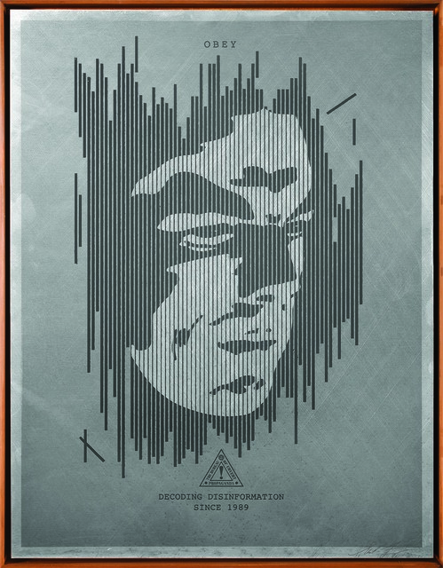 Shepard Fairey (OBEY), 'Decoding Disinformation (Silver)', 2015, Underdogs Gallery